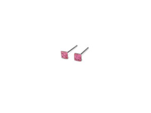 Square October Birthstone Stud Earrings, Tiny 925 Sterling Silver Rose Pink Birth Stone Studs, Gift Ideas, Cartilage Earrings, Unisex