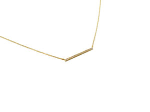 Gold Cubic Zirconia Horizontal Bar Necklace, Elegant CZ Pendant Necklace, Gift for Her, Minimalist Jewelry