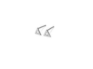 Open Silver Triangle Stud Earrings, Small Triangle Outline Sterling Silver Earrings, Triangular Post earrings, Silver Triangle Jewelry
