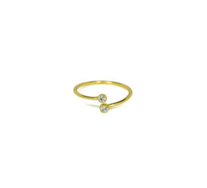 Gold Dual CZ Knuckle Ring, Cubic Zirconia, Thin 18K Gold CZ Stackable, Midi Knuckle Ring, Minimalist Jewelry