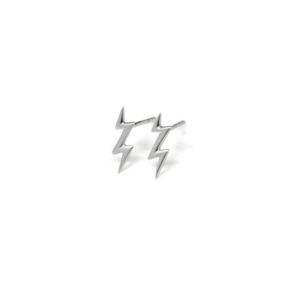 Silver Lightening Bolt Statement Stud Earrings, 925 Sterling Silver Studs, Gifts for Her, Minimalist Jewelry