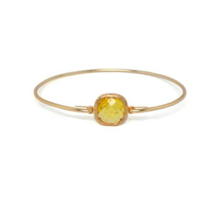Gold Yellow Gemstone Bracelet, November Birthstone Square Topaz Charm Bangle Bracelet, Jewelry for Women, Gifts for Her