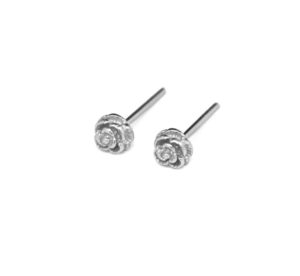 Silver Flower Stud Earrings, Solid 925 Sterling Silver Rose Flower Earrings, Tiny Silver Studs, Minimalist Jewelry