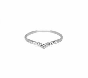 Silver CZ Chevron Ring, Solid 925 Sterling Silver Rings, Cubic Zirconia Crystal Ring, Wedding Engagement Ring, Gifts Ideas