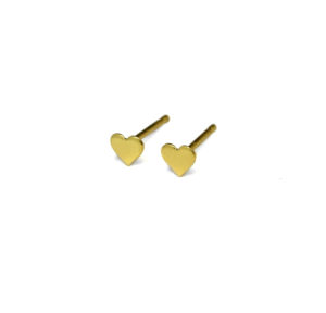 Small Gold Heart Stud Earrings, Gold Sterling Silver Earrings, 4mm Tiny Studs, Minimalist Jewelry