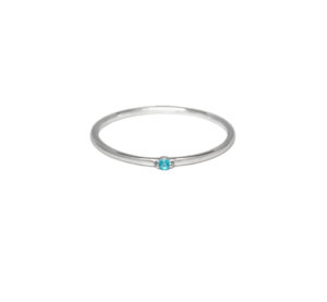 Tiny Thin Single Stacking Turquoise Blue Gemstone Silver Ring, 925 Sterling Silver Ring, Baby Blue CZ Stacking Ring, Minimalist Jewelry