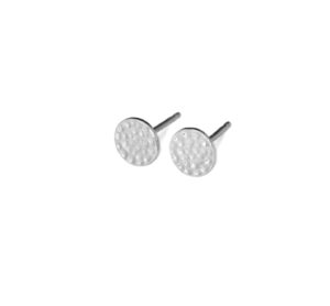 Hammered Sterling Silver Stud Flat Circle Earrings, Small 925 Sterling Silver Round Studs, Geometric Jewelry