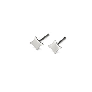 Silver Squared Star Stud Earrings, Small 4mm 925 Sterling Silver Earrings, Diamond Shape Post earrings, Silver Square Jewelry