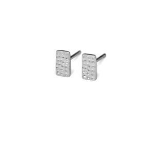 Hammered Sterling Silver Stud Bar Earrings, Small 925 Sterling Silver Rectangle Studs, Geometric Jewelry