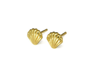 Gold Seashell Stud Earrings, Shell Jewelry, Ocean Jewelry, Small Shell Studs, Gifts for Her