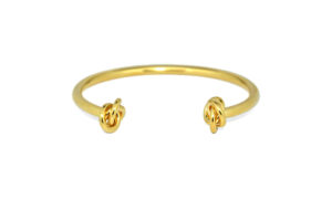 Gold Dual Knotted End Cuff Bracelet, Double Knot Bracelet, Bridesmaid Bracelet, Gifts for Her