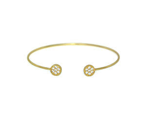 Thin Adjustable Gold Open Circle CZ Bracelet, Minimalist Delicate Crystal Cuff Bracelet, Jewelry for Women, Gifts for Her