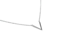 Silver V Necklace, Delicate Simple V Shaped Necklace, Solid 925 Sterling Silver, Gift for Her, Everyday Inline Pendant Necklace