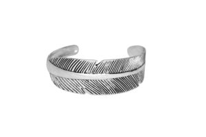 Silver Feather Cuff Bracelet, Adjustable Antique Silver plated Wide Band Bangle Bracelet, Gift Ideas