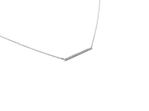 Sterling Silver Cubic Zirconia Horizontal Bar Necklace, Elegant CZ Pendant Necklace, Gift for Her, Minimalist Jewelry