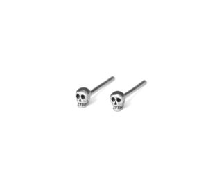 Tiny Skull Stud Earrings, 925 Sterling Silver Studs, Cartilage earring, Delicate Jewelry