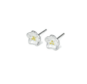 Delicate Silver Flower Stud Earrings, 925 Sterling Silver Flower Earrings