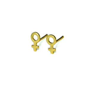 Gold Female Symbol Stud Earrings, Trendy Woman Earrings, Venus Symbol Post earrings, Feminist Jewelry