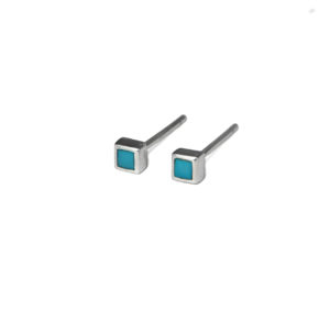 Tiny Square Turquoise Stud Earrings, Small Turquoise Earrings, 3mm Turquoise Post earrings, Turquoise Jewelry