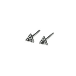 Silver Triangle Design Stud Earrings, 925 Sterling Silver Earrings, Tiny Oxidized Triangle Post earrings, Geometric Jewelry