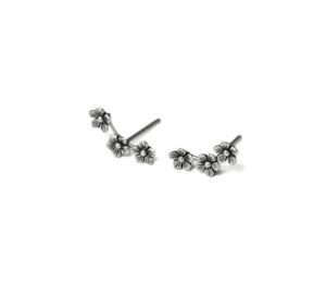 Triple Silver Connected Flower Stud Earrings, Oxidized 925 Sterling Silver Earrings, Cartilage Piercings, 925 Sterling Silver Unisex Jewelry