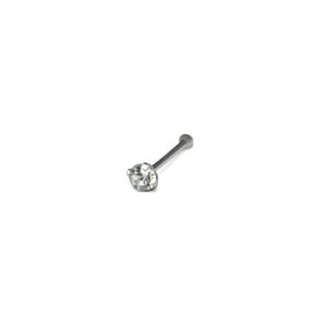 Single Silver Clear 1.5mm Crystal Nose Stud, 925 Sterling Silver Jewelry, Gemstone CZ Nose Pin Stud, 20 Gauge Cartilage Piercings