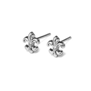 Silver Fleur De Lis Stud Earrings Stud Earrings, Solid 925 Sterling Silver, Oxidized Royal Flower Earrings, Minimalist Jewelry