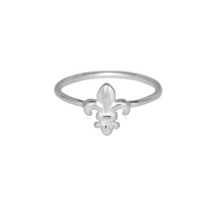 Silver Fleur De Lis Flower Ring, Solid 925 Sterling Silver Ring, Royal Flower Symbol, Gifts for Her