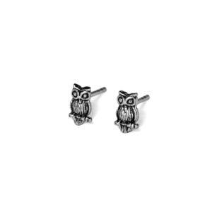 Tiny Owl Stud Earrings, 925 Sterling Silver Jewelry, Small Modern Oxidized Animal Studs, Gift Ideas