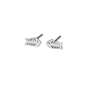 Silver Fish Bone Stud Earrings, 925 Sterling Silver Studs, Fish skeleton Jewelry, Minimalist Ocean Post Studs, Gift Ideas