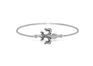 Silver Fleur De Lis Bracelet, Silver plated Royal Flower Charm Bangle Bracelet, Jewelry for Women, Gifts for Her
