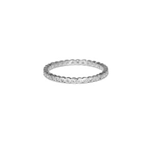 Silver Eternity Round CZ Ring, Thin 925 Sterling Silver Crystal Stacking Ring, Cubic Zirconia Eternity, Wedding Engagement Ring