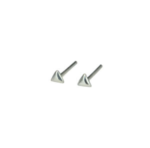 Tiny Silver Triangular Stud Earrings, 2mm 925 Sterling Silver Earrings, Triangle Earrings, Geometric Jewelry