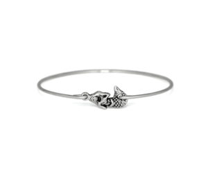 Silver Mermaid  Bracelet, Silver plated Mermaid Charm Bangle Bracelet, Jewelry for Women, Gifts for Her