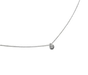 Tiny Silver Round Crystal Gemstone Necklace, Delicate CZ Drop Pendant Necklace, Bridesmaid Gift Ideas, Minimalist Everday Jewelry