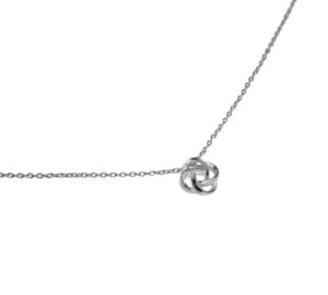 Silver Knot Pendant Necklace, 925 Sterling Silver Knotted Charm Necklace, Minimalist Everyday Jewelry
