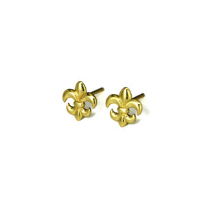 Gold Fleur De Lis Stud Earrings Stud Earrings, Gold over solid Sterling Silver, Royal Flower Earrings, Minimalist Jewelry