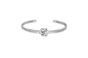 Silver Double Knot Cuff Bracelet, Interlocking Infinity Love Knot Bracelet, Bridesmaid Bracelet, Gifts for Her