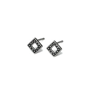 Oxidized Open Square Stud Earrings, 925 Sterling Silver Earrings, Triangular Geometric Post earrings, Silver Square Design Jewelry