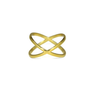 Gold Criss Cross Ring, Gold X Statement Ring, Modern Gold over Sterling Silver Cross Rings, Minimalist Jewelry