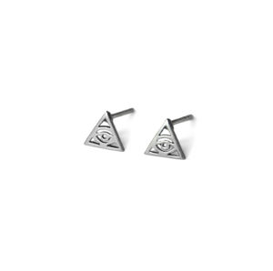 Sterling Silver Evil Eye Triangle Stud Earrings, Small Protection Studs, 925 Sterling Silver Jewelry