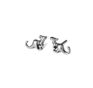 Silver Kangaroo Stud Earrings, Solid 925 Sterling Silver Animal Jewelry, Gift Ideas