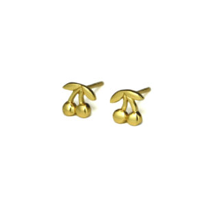 Gold Cherry Stud Earrings, Gold Cherries, Fruit Jewelry