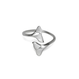 Adjustable Silver Dual Whale Tail Ring, Solid 925 Sterling Silver Double Tail Polished Ring, Gift Ideas