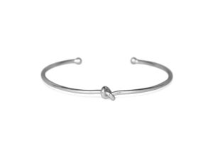 Thin Silver Knot Cuff Bracelet, Simple Adjustable Silver Tiny Love Knot Bracelet, Bridesmaid Wedding Gifts