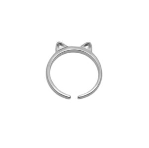 Adjustable Silver Cat Ears Ring, 925 Sterling Silver Adjustable Band Ring, Dainty Kitty Animal Ring, Delicate Everyday Jewelry