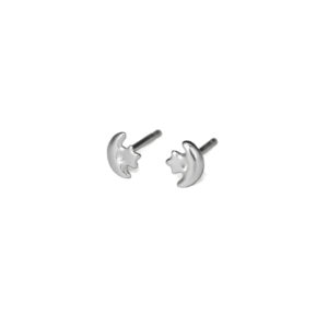 Tiny Silver Star and Crescent Moon Stud Earrings, Solid 925 Sterling Silver, Minimalist Jewelry