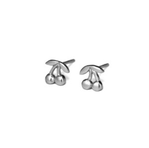 Silver Cherry Stud Earrings, Solid 925 Sterling Silver Cherries, Fruit Jewelry